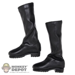 Boots: Flirty Girl Black Leatherlike Boots w/Ankle Pegs