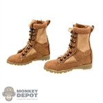 Boots: Feel Toys Female Brown Tactical Boots