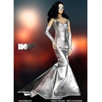 Clothing Set: Hot Plus Shimmering Evening Dress In Silver (HP-020)