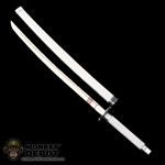 Sword: Hot Toys Short Katana Sword w/White Sheath (Metal)