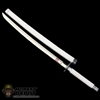 Sword: Hot Toys Long Katana Sword w/White Sheath (Metal)