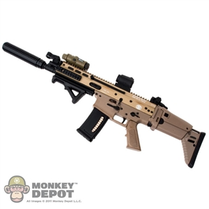 Rifle: Hot Toys SCAR L w/Sight, Grip, Silencer