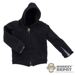 Jacket: Hot Toys Black Hooded Zipper Jacket