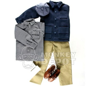 Uniform Newline Miniatures Civilian Work Set B Brown Shoes, Gray Shirt
