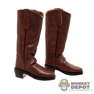 Boots: Newline Miniatures Western Mule Ear Boots - Dark Brown