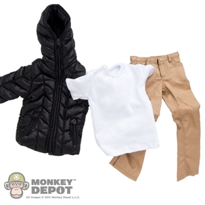 Clothing Set: Crazy Owner Black Down Jacket Set  For Muscle Body (COF-033AM)