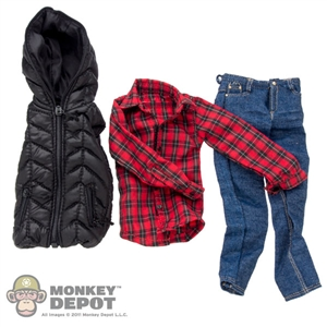 Clothing Set: Crazy Owner Black Sleeve Less Down Jacket Set For Regular Body (COF-033BNB)