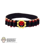 Belt: Phicen Black Leatherlike Belt w/Tiger Gear Buckle & Shotgun Shells