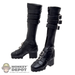 Boots: Phicen Black Leatherlike Boots