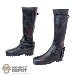 Boots: Phicen Black Leatherlike Boots w/Weathering & Blood