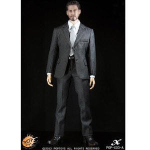 Clothing Set: POP Toys Mens Black Striped Suit Set (POP-X03A)