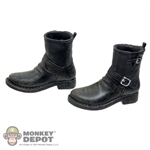 Boots: POP Toys Black Molded Buckle Boots