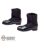 Boots: POP Toys Black Cloth/Leatherlike Boots w/Ankle Pegs