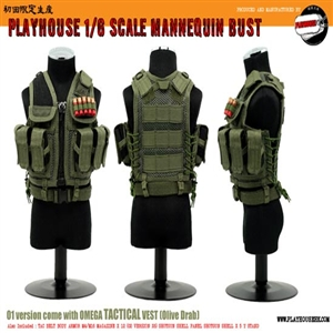Vest Set Playhouse Omega Tactical Vest OD Green Mannequin Bust