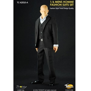 Uniform Set: Toys City Mens Hommes Fashion Suits Set - Black (TCT-62010A)