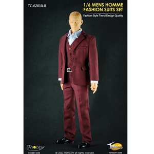 Uniform Set: Toys City Mens Hommes Fashion Suits Set - Burgundy (TCT-62010B)