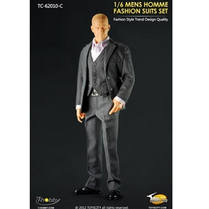 Uniform Set: Toys City Mens Hommes Fashion Suits Set - Grey (TCT-62010C)