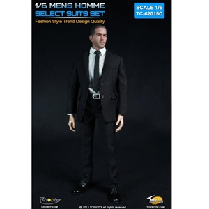 Uniform Set: Toys City Mens Hommes Fashion Suits Set - Black (TCT-62015C)