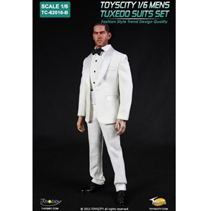 Clothing Set: Toys City Mens Tuxedo Suit Set White (TCT-62016B)
