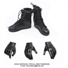 Boots: Very Cool Female Black Military Boots w/Gloves (VCM-2018B)