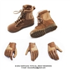 Boots: Very Cool Female Brown Military Boots w/Gloves (VCM-2018A)
