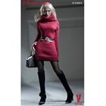 Clothing Set: Very Cool Turtleneck Mini Dress Set Red (VCF-2009B)