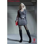 Clothing Set: Very Cool V-Neck Mini Dress Set Grey (VCF-2010B)