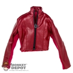 Coat: Very Cool Female Red Leather Jacket