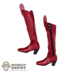 Boots: Very Cool Female Red Leatherlike Boots w/Ankle Pegs