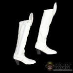 Boots: Very Cool Female White Leatherlike Boots w/Ankle Pegs