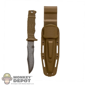 Knife: Very Hot Tan Combat Knife w/Sheath