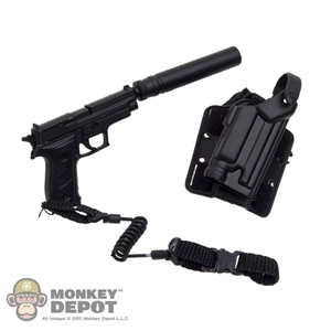 Pistol: Very Hot SIG 226 w/Retention Lanyard, Silencer & Holster