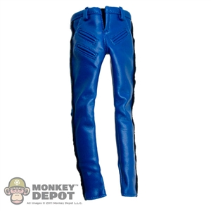 Pants: ZC World Female Blue Leatherlike Pants