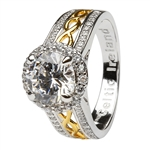 Silver and Gold Plated White CZ Halo Ring LS-SL100CZ
