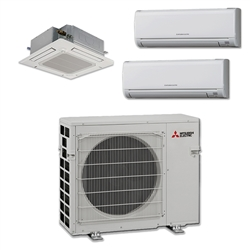 Mini Split Multi 3 Zone Mitsubishi up to 19 SEER heat pump system MXZ3C30NA x 3 Wall Mount or Ceiling Cassette