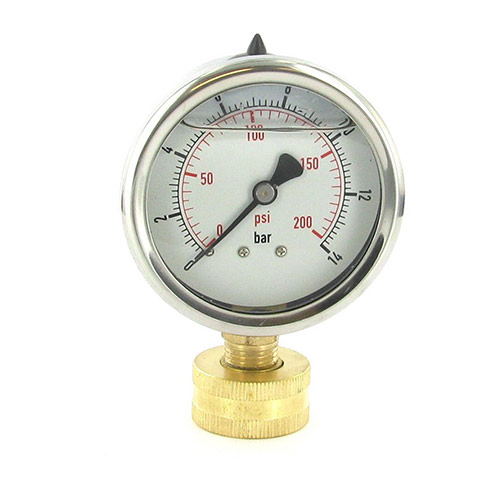 "200PGL - Aqualine -  200 PSI liquid filled pressure gauge - 3/4"" FHT swivel"
