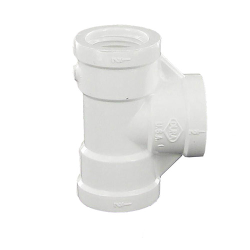 Dura 405-005 - 1/2 inch fpt x 1/2 inch fpt x 1/2 inch fpt PVC Threaded Tee
