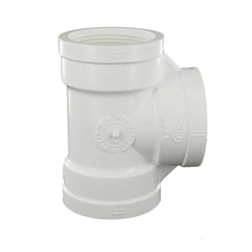 Dura 405-015 - 1-1/2 inch fpt x 1-1/2 inch fpt x 1-1/2 inch fpt PVC Threaded Tee