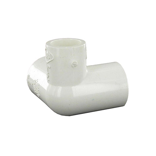Dura 413-130 - 1 inch slip x 1 inch slip x 1/2 inch slip PVC Side Outlet 90 Degree Elbow