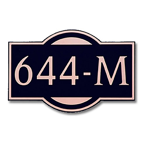Dekorra 644H-L-CB - Large Designer Shape Copper on Black Custom Address Plaque (Horizontal)