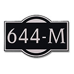 Dekorra 644H-L-NB - Large Designer Shape Nickel on Black Custom Address Plaque (Horizontal)