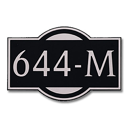 Dekorra 644H-M-NB - Medium Designer Shape Nickel on Black Custom Address Plaque (Horizontal)