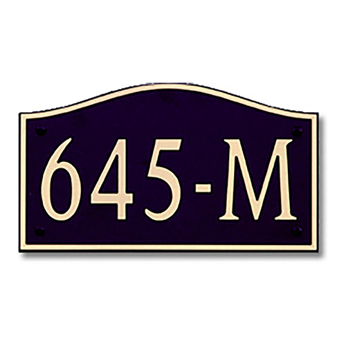 Dekorra 645H-L-GB - Large Designer Shaped Gold on Black Custom Address Plaque (Horizontal)