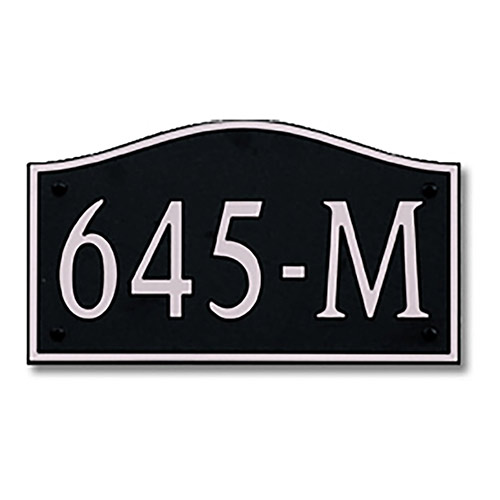 Dekorra 645H-M-NB - Medium Designer Shaped Nickel on Black Custom Address Plaque (Horizontal)