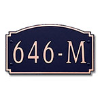 Dekorra 646H-M-CB - Medium Designer Shape Copper on Black Custom Address Plaque (Horizontal)