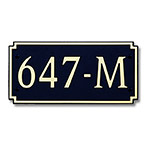 Dekorra 647H-M-GB - Medium Designer Shape Gold on Black Custom Address Plaque (Horizontal)