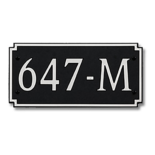 Dekorra 647H-M-NB - Medium Designer Shape Nickel on Black Custom Address Plaque (Horizontal)