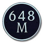 Dekorra 648H-L-NB - Large Circle Shaped Nickel on Black Custom Address Plaque (Horizontal)