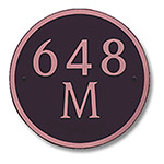 Dekorra 648H-M-CB - Medium Circle Shaped Copper on Black Custom Address Plaque (Horizontal)