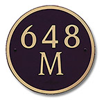Dekorra 648H-M-GB - Medium Circle Shaped Gold on Black Custom Address Plaque (Horizontal)